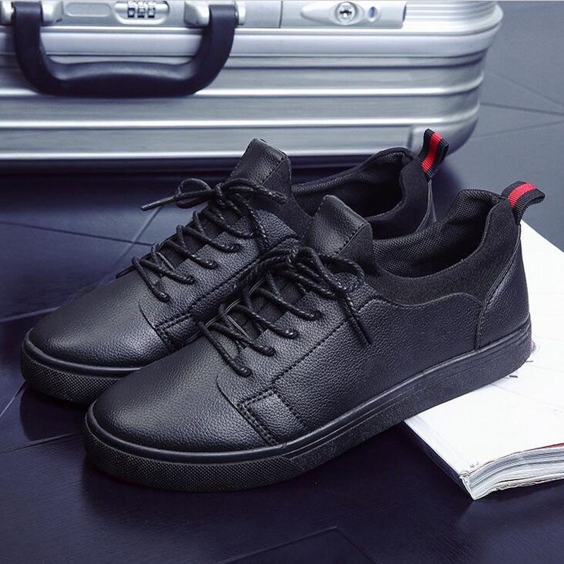 New 2017 Arrival Men Casual Flats Soft Leather Sneakers Shoes Low Help Lace-up Breathable Comfortable Shoes Plus Size EU 39-44 new arrival fashion rivets men leather shoes men s lace up breathable pointed toe casual shoes low leisure man shoes size 38 44