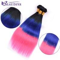 BEAU DIVA Brazilian Hair Weaves Bundles 1B/Blue/Pink 3 Pcs Brazilian Straight Hair Ombre Human Hair Extensions 16 26 Remy