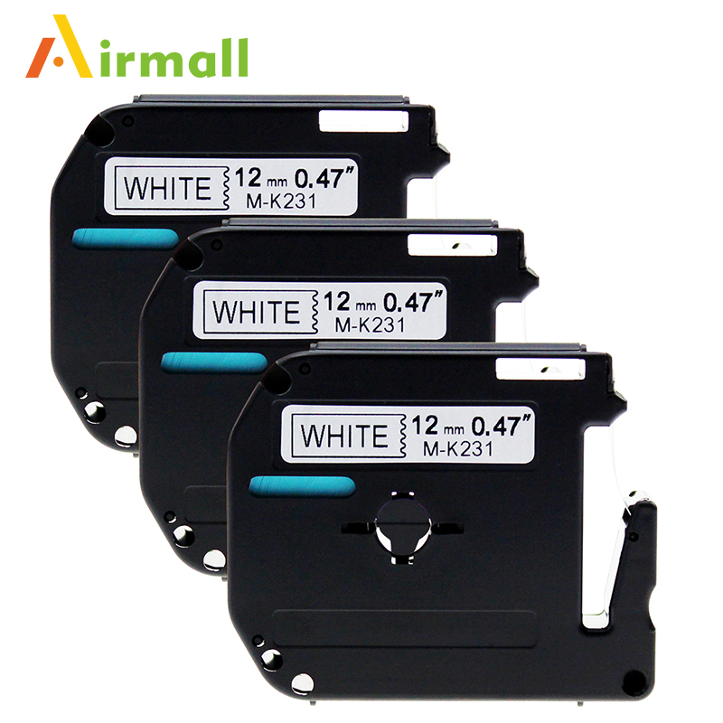 3 Pack Compatible Brother P-touch M Tape M231 MK231 Black on White Label Tape for Brother P Touch 12mm Label Maker PT-90 PT-M95