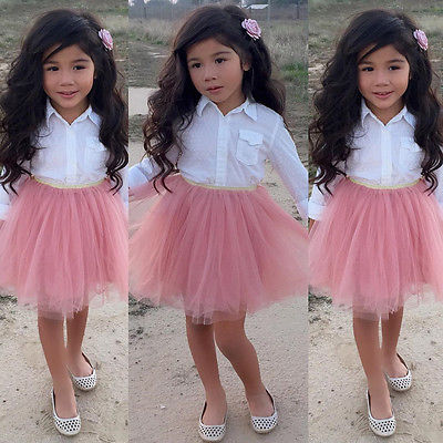 Cute Fashion Kid Baby Girl 2pcs Outfits Clothes White Long Sleeve Shirt Blouse Tops+Pink Mesh Tutu Skirts Outfits Set Clothing 2016 new fashion boutique outfits for omika baby girls sets with 2 pcs cute print long sleeve tops bow tutu skirts size 4 12y