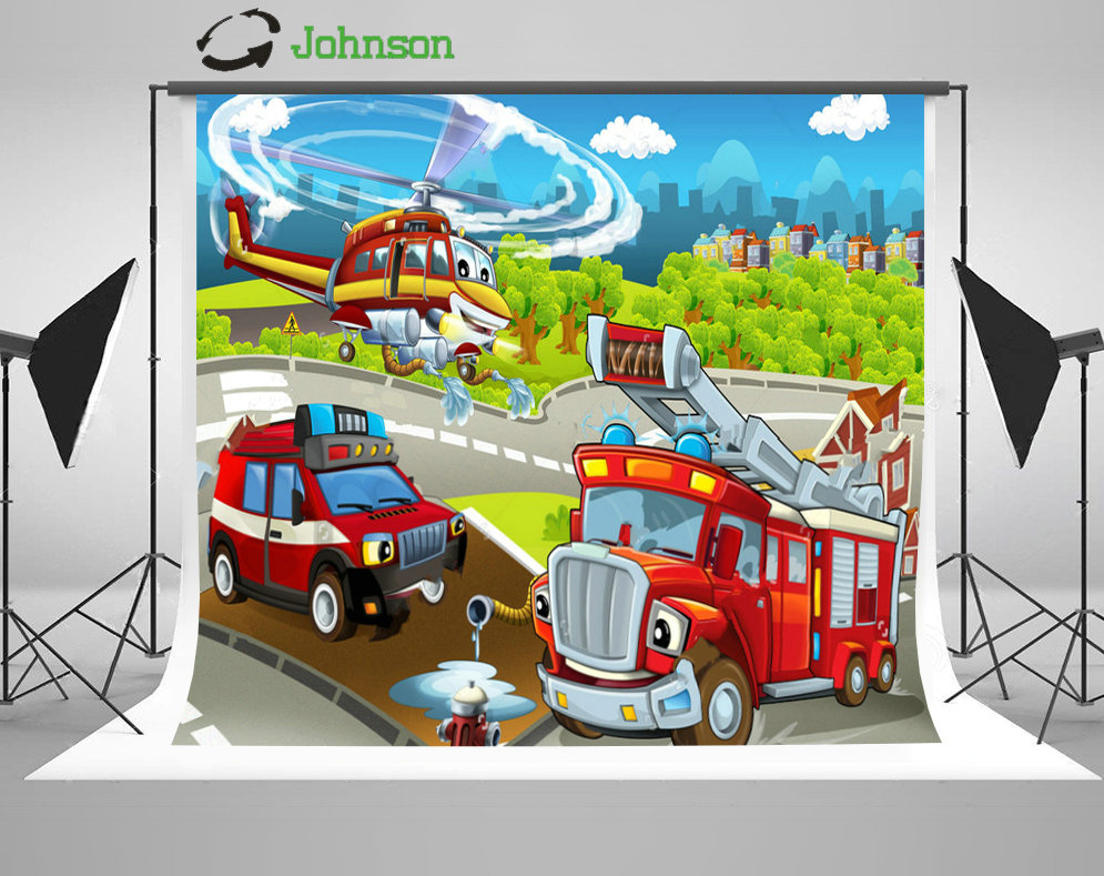 Blue Sky White Clouds Cartoon Stage Machines Firefighting backdrop polyester or Vinyl cloth Computer print wall Backgrounds
