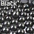 Abalorio negro medio redondo mezcla tamaños 2mm 3mm 4mm 5mm 6mm 8mm 10 12mm imitación ABS perla trasera plana para DIY uñas arte joyería accesorio