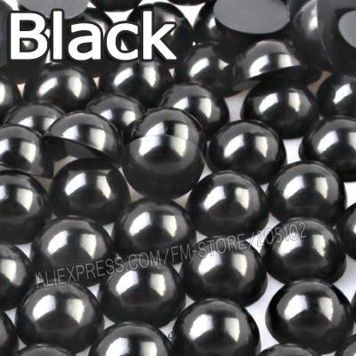Fekete Half kerek gyöngy keverék méretek 2mm 3mm 4mm 5mm 6mm 8mm 10 12mm utánzat ABS Lapos vissza Gyöngy DIY köröm Art ékszerek Tartozék