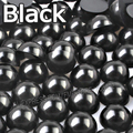 Black Half Round bead Mix Sizes 2mm 3mm 4mm 5mm 6mm 8mm 10 12mm imitation ABS Flat back Pearl for DIY Nail Art jewelry Accessory