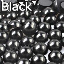 Czarny półokrągły koralik Mix rozmiary 2mm 3mm 4mm 5mm 6mm 8mm 10 12mm imitacja ABS płaski powrót perła dla majsterkowiczów akcesoria do biżuterii