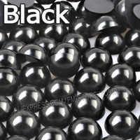 Schwarz Beinahe Ringsum perlen Mix Größen 2mm 3mm 4mm 5mm 6mm 8mm 10 12mm nachahmung ABS Flache rückseite Perle für DIY Nail art schmuck zubehör