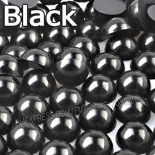 Siyah Yarım Yuvarlak boncuk Mix Boyutları 2mm 3mm 4mm 5mm 6mm 8mm 10 12mm İmitasyon ABS Düz geri Inci DIY Nail Art takı Aksesuar