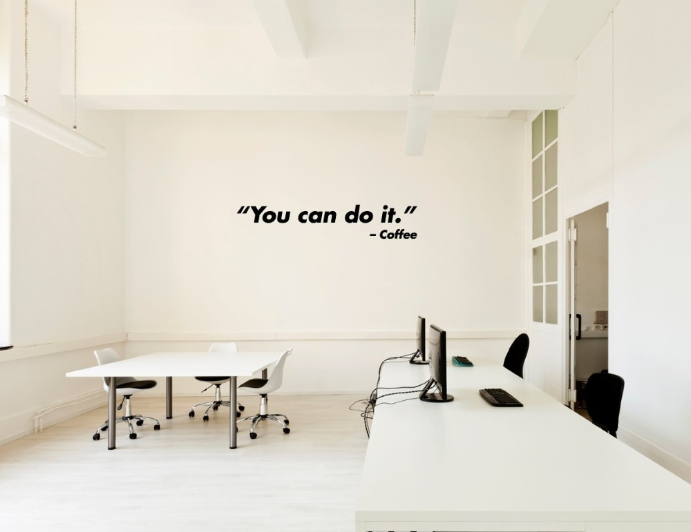Us 1 82 31 Off You Can Do It Coffee Wall Sticker Quote Living Room Home Decor Bedroom Murals Office Inspirational Vinyl Decals Stickers S 398 In