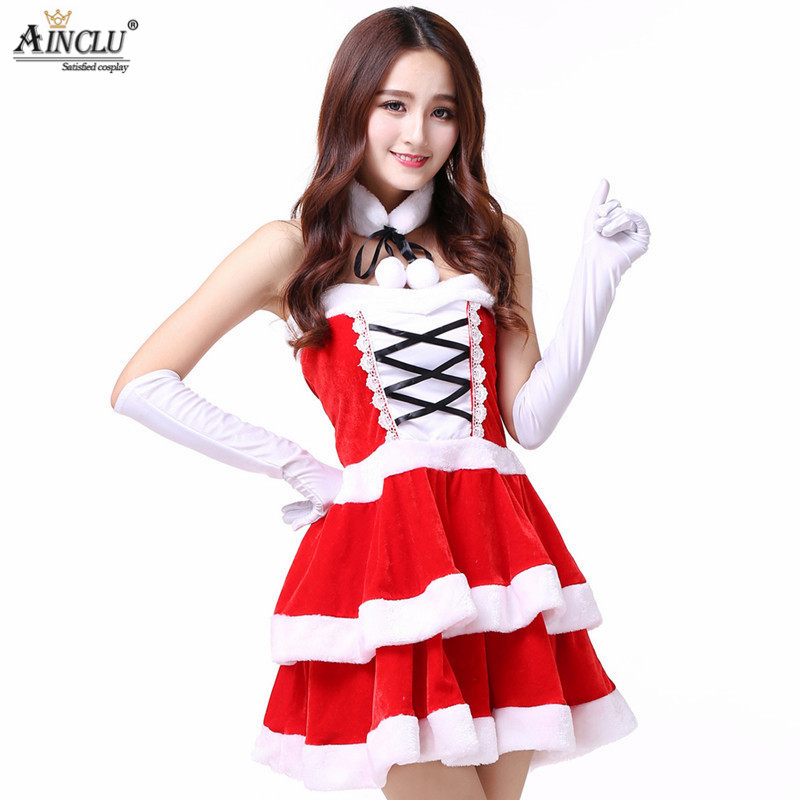 Women Sexy santa costumes christmas dress Cosplay for woman fancy dress costume Halloween Santa Clause Neck-ring Gloves Dress