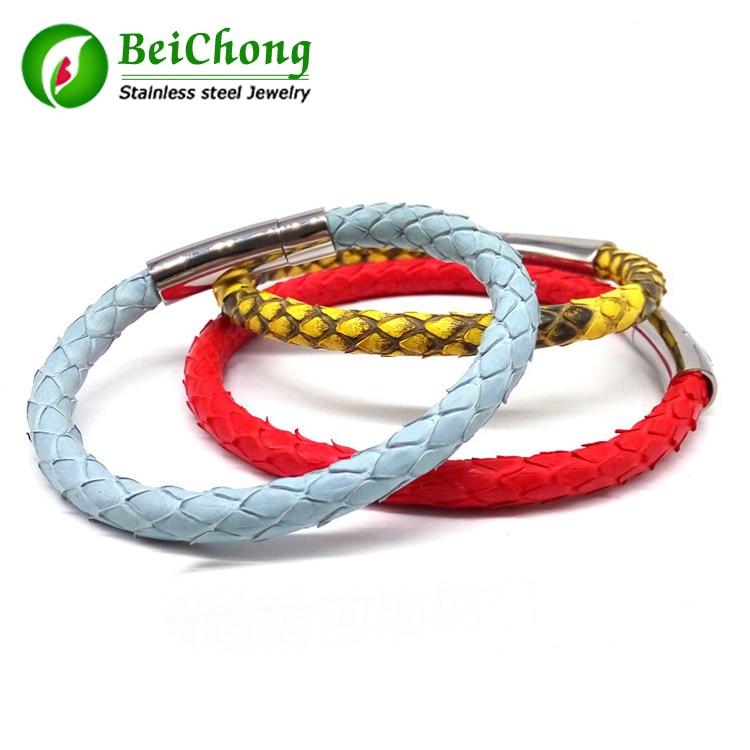 BC Luxury Bracelets Python մաշկի կաշվե ձեռնաշղթա - Նորաձև զարդեր - Լուսանկար 1