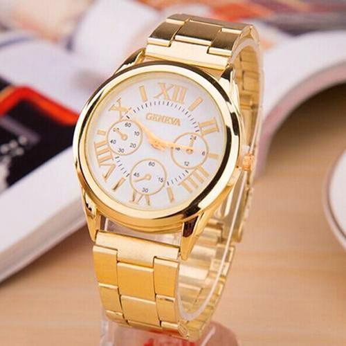 5881935f4ba Das mulheres de Luxo de Genebra Algarismos Romanos Dourados Liga de Quartzo Analógico  Relógio de Pulso 6XB6 em Mulheres Relógios de Relógios no ...