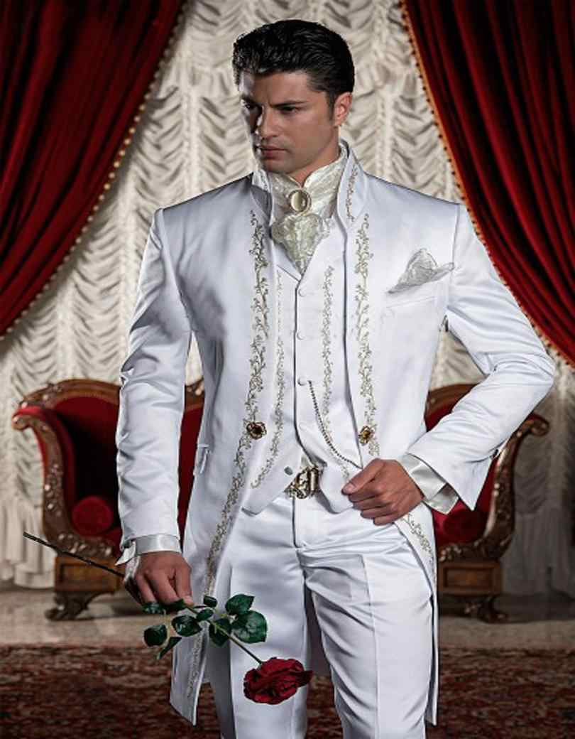 Custom Made White Embroidery Groom Tuxedos Stand Collar Groomsmen Blazer Man Wedding Suits Jacket+Pants+Vest+Tie+Handkerchief