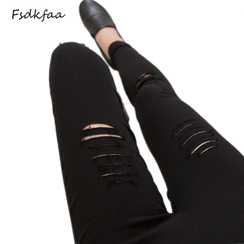 FSDKFAA Skinny Pants Women Sexy Hole Knee Pencil Pant Lady High Waist Legging Slim Trousers Stretch Ripped Jeans Plus Size 3XL