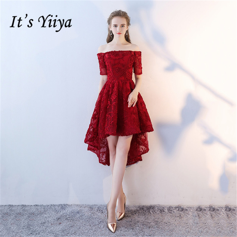 It s Yiiya Luxury Evening Dresses Boat Neck Short Sleeve Asymmetrical  Fashion Designer Elegant Formal Dress for 57c72e69077c