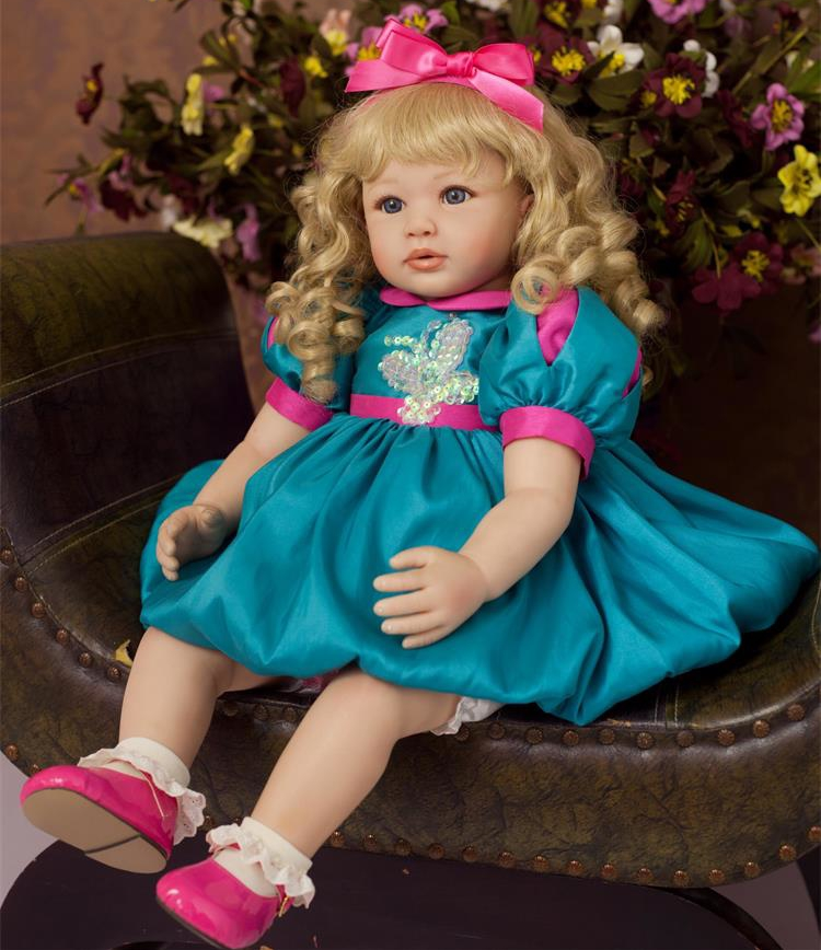 """Здесь продается  Pursue 22""""/56cm Reborn Baby Beautiful Princess Girl Doll Weighted for Cuddle Green Lifelike Toddler Doll Gift for Child Playmate  Игрушки и Хобби"""