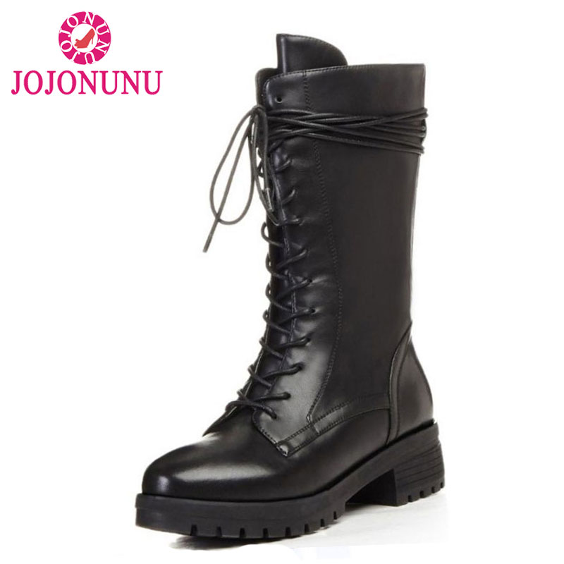 JOJONUNU Women Boots Genuine Real Leather Round Toe Half Boots Ladies Sqaure Heel Botas Mujer Zipper Women Shoes Size 34-39