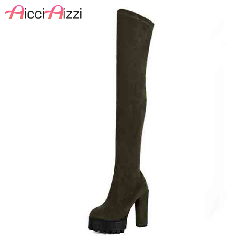 AicciAizzi Sexy Lady Real Leather High Heel Boots Women Zipper Platform Thick Heels Boot Dating Warm Soft Botas Mujer Size 33-44 цена