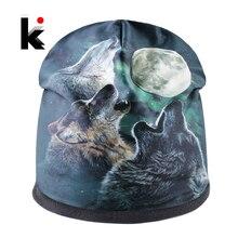 Fashion Skullies Men Beanies Animal Pattern 3D Printing Winter Thick Bonnet Hats For Women Hip Hop Cap Streetwear Gorras