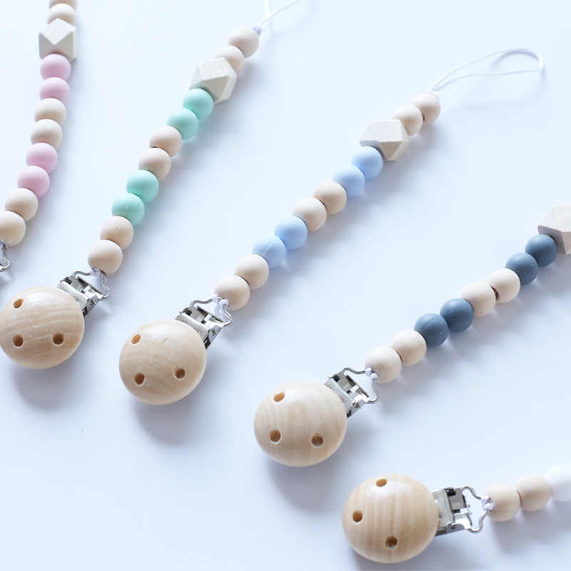 Baby Wooden Pacifier Clip Anti-chain Infant Pacifier Chain Toy Newborn Pacifier Chain