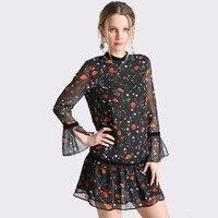 Mùa xuân Voan Hoa In Phụ Nữ Thống Shirt Dress Sexy Voile Nhung Chắp Vá Nữ Thường Ngắn Dễ Thương Evening Dresses Đảng