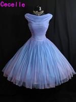 Lavender 1950's Vintage Tea Length 2017 Wedding Dresses Short Pleats Chiffon Puffy 60s Informal Wedding Gowns Custom Made Real