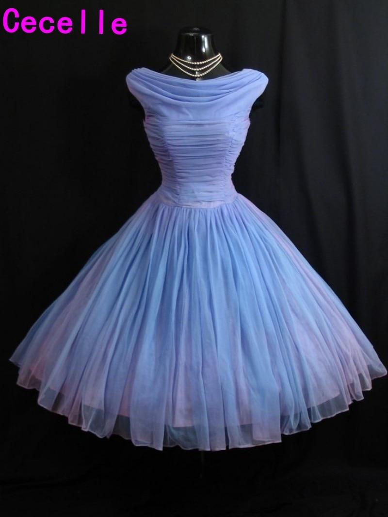 Lavender 1950's Vintage Tea Length 2019 Wedding Dresses Short Pleats Chiffon Puffy 60s Informal Wedding Gowns Custom Made Real