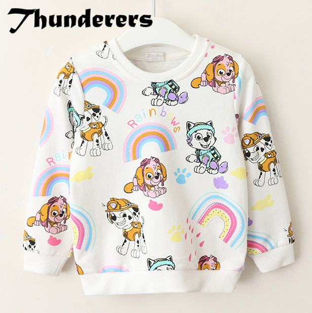 New Brand Girls Clothes Autumn Shirt Cartoon Dog Long Sleeve Shirts for Baby Girl Tops Children