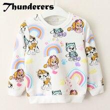 Новая брендовая одежда для девочек, осенняя рубашка с рисунком собаки из мультфильма, рубашки с длинными рукавами для маленьких девочек, топы для детей, модная одежда для детей, комплект с радугой