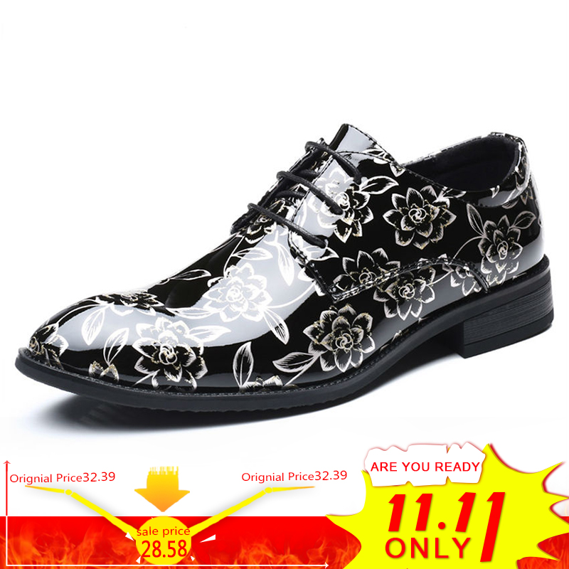 цены на BIMUDUIYU Plus Size 48 Men Dress Shoes Floral Pattern Formal Shoes Leather Luxury Fashion Groom Wedding Shoes Men Oxford Shoes в интернет-магазинах