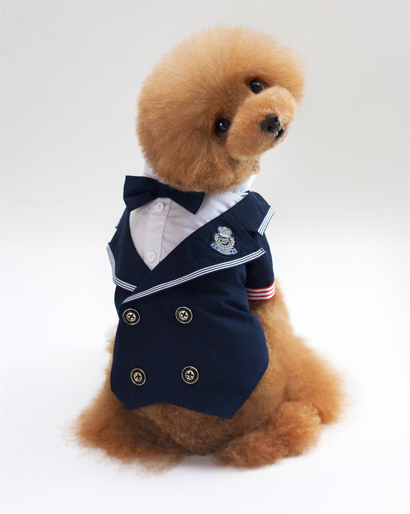 2017 new pet clothes dog clothes Navy suit pet dress pet supplies pet wedding 171025-11