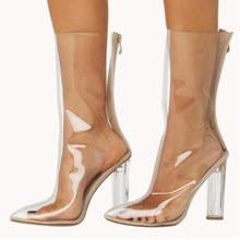 48e33684 A-BUYBEA 2018 la venta caliente nuevo PVC mujeres tobillo botas de punta de  cristal tacón transparente mujeres botas claro tacon.