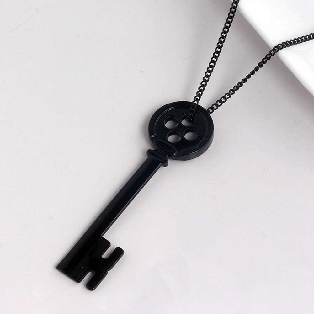 Fashion Personality Halloween  Metal Coraline Key Skeleton Props Neil Gaiman Retro Black Treasure Chest Key Necklace