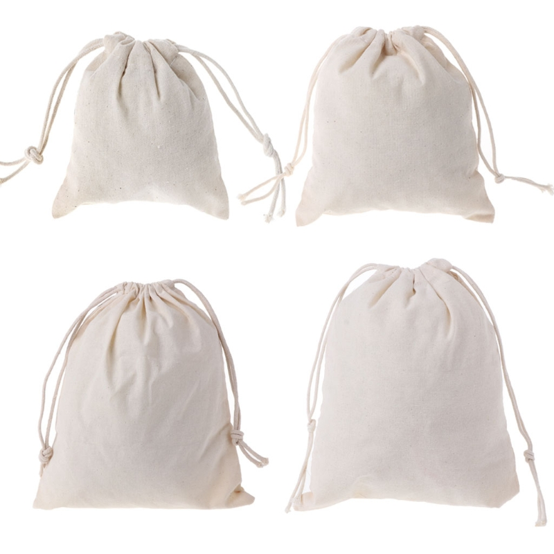 Hot Natural Cotton Drawstring Pouch Stuff Bag Laundry Clothes Finishing Drawstring Bags Handbag