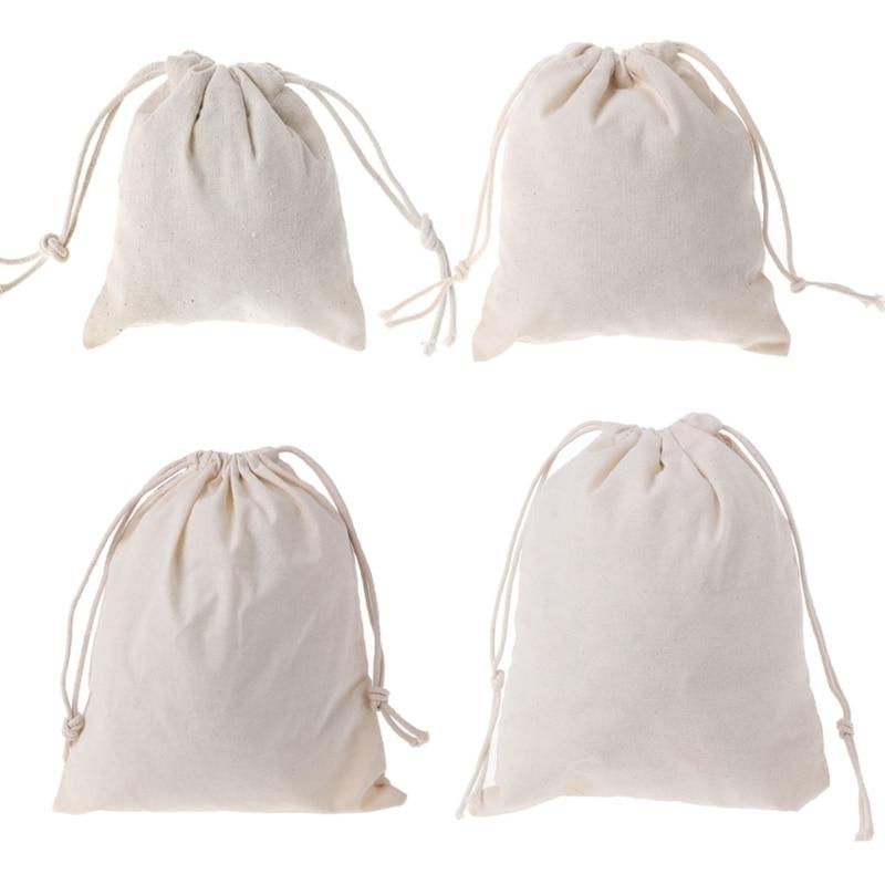 Hot Natural Cotton Drawstring Pouch Stuff Bag Laundry Clothes Finishing Drawstring Bags Handbag