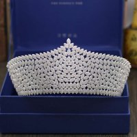Bridal Tiaras and Crowns Sliver Color Hair Crown Full Cubic Zirconia Large Queen Crown for Women Wedding Hair Jewelry
