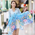 Spring and autumn sun silk scarf mantillas scarf cape dual long design belt buttons butterfly beach towel female