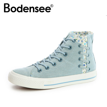 BODENSEE Women Canvas Shoes Women Sneakers High Top Canvas Shoes Casual Shoes Women Canvas Floral Design Vulcanized Shoes girl shoes in sri lanka