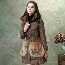 2016 Winter Jacket coat Women Retro Warm Thicking Raccon Fur Knitted Pocket 90% White Duck Down Feather Padded Down Coat