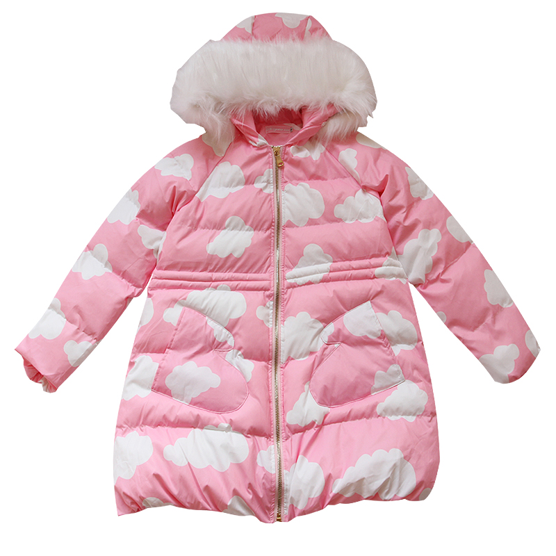 2017 New Winter Sweet Women Long Parkas Hooded Coat Thick Padded Casual Clouds Print Pink Clothes Jackets princess sweet lolita parkas in the winter of new women s original japanese sweet fox fur collar long sleeved coat c22cd7219