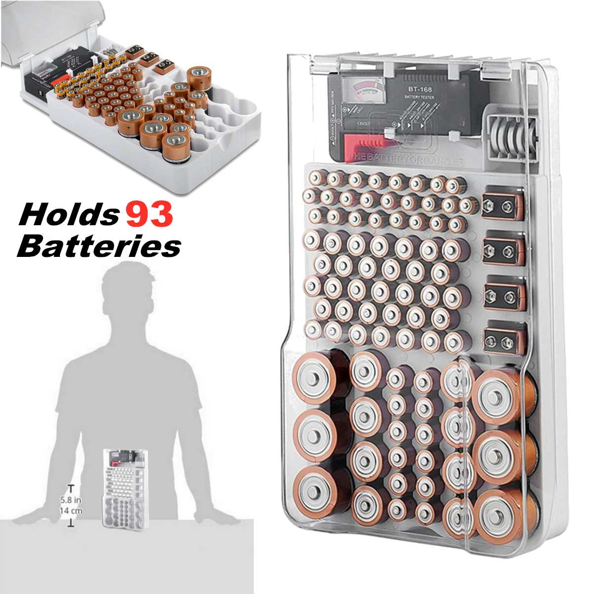 Case-Accessories Storage-Box Measuring-Organizer Battery-Capacity-Tester 93 Transparent