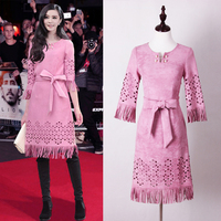 2018 Spring New Fashion Warm Suede Laser Drilling Embroidery Tassel Lace With Pearl Decorative Pink Women Dress Free Shipping
