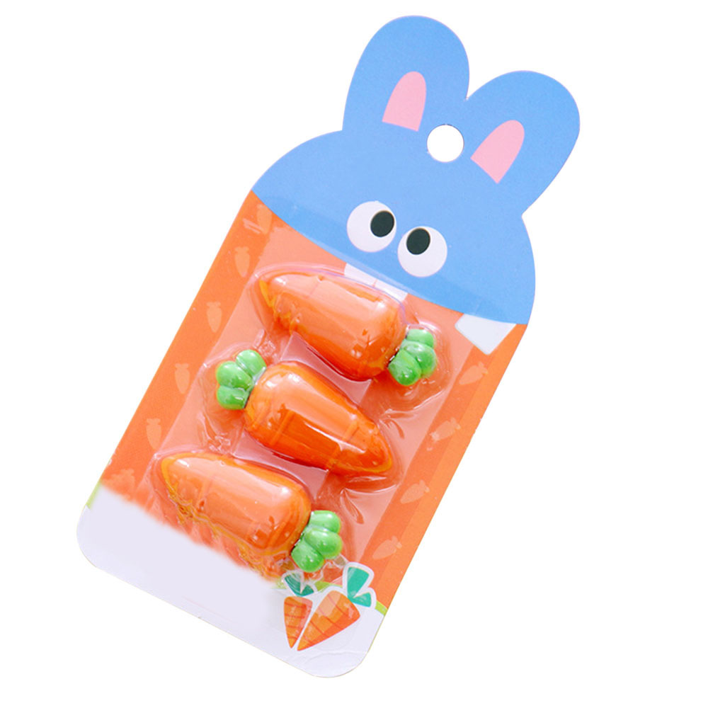 3 Pcs/pack Lovely Carrot Rubber Eraser Primary Student Prizes Promotional Gift Stationery Pencil Erasers School Student Supply