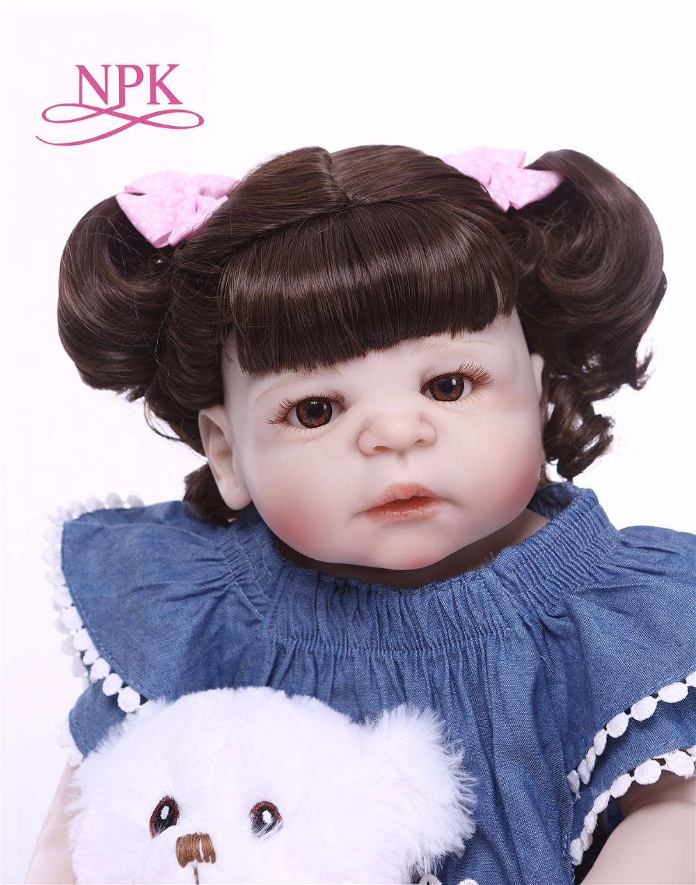 NPK 57 cm Del Silicone Pieno Del Bambino Bambola Fatta A Mano Neonati Rinato Realistico giocattoli della ragazza Per I Bambini Di Natale o Regalo Di Compleanno-in Bambole da Giocattoli e hobby su  Gruppo 3