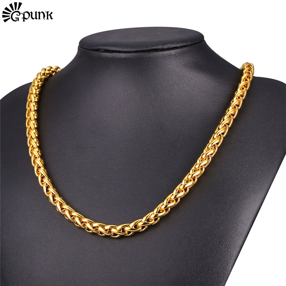 9mm Stainless Steel Wheat Chain Necklace For Men Gold Plated Hiphop Jewelry Link Chain 2016 Men Chain Necklace Wholesale N2169G Ожерелье