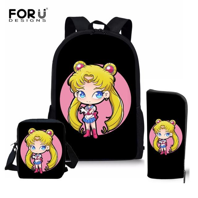 1efc3a8999b5 FORUDESIGNS Schoolbags for Teenager Cartoon Sailor Moon Prints School  Backpacks Children Orthopedic Teens Girls School Bag