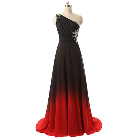 Hot Sale 2019 Long Evening Dresses One Shoulder Gradient Black Red Chiffon Prom Dress Cheap In Stock Real Photos Vestido Longo Multan