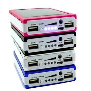 נייד 5×18650 Powerbank Pover כוח בנק 18650 שמש כוח בנק מקרה DIY תיבה כפולה USB ערכת טלפון מטען פנס