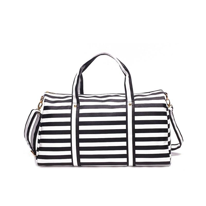 Women PU Leather Stripe Travel Bag Shoulder Bag Women Handbag Ladies Weekender Portable Duffel Bag