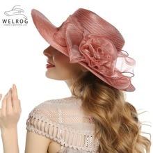 WELROG Summer Women Elegant Vintage Organza Hats Large Wide Brim Bonnet  Party Wedding Kentucky Derby Hat 64b5ce1ea0c2