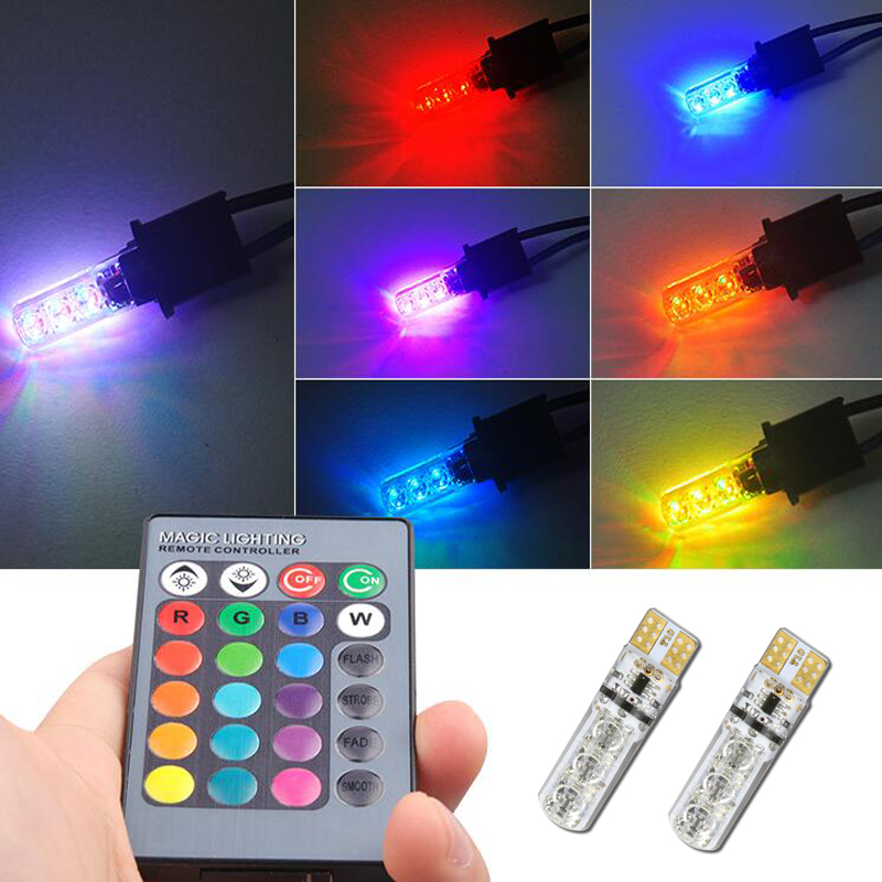 T10 W5W <font><b>Led</b></font> Bulb 194 168 RGB Multi Color Parking Lights For <font><b>renault</b></font> megane 2 <font><b>duster</b></font> logan clio laguna 2 Koleos image